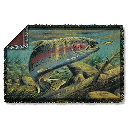 Wild Wings Rainbow Trout Woven Throw WW410TAP