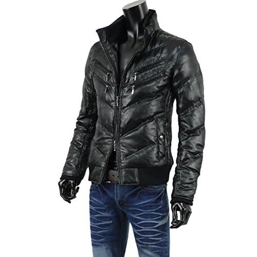 ダウンジャケット メンズ ジャケット キルティング 迷彩柄 Wジップ カモフラ リブ ミリタリー V261024-01 ブラック L