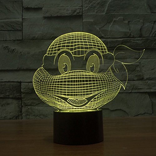 SUAVER RGB 3D 7-Color Gradual Changing LED Touch Switch Visualization Illusion Atmosphere Light Desklamp Nightlight Home Decoration Household Lights (Mutant Ninja Turtles)