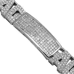 14K White Gold Mens Diamond Bracelet 15.64 Ctw