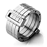 Justeel Men Stainless Steel Ring Band Silver Password Combined Unique Size Z+1(with Gift Bag) (Width: 0.51