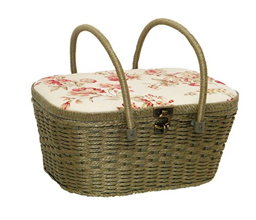 "Best Buy! Dritz St. Jane Sewing Basket Large Picnic (14"" L x 10"" W x 7"" H); Antique F..."