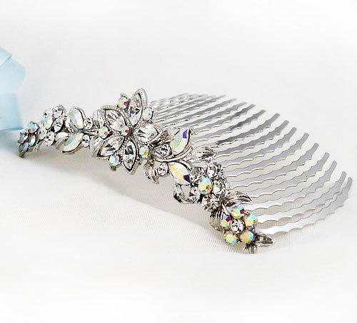 Mother's Day Crystal Accent Silver Tone Flower Hair Comb