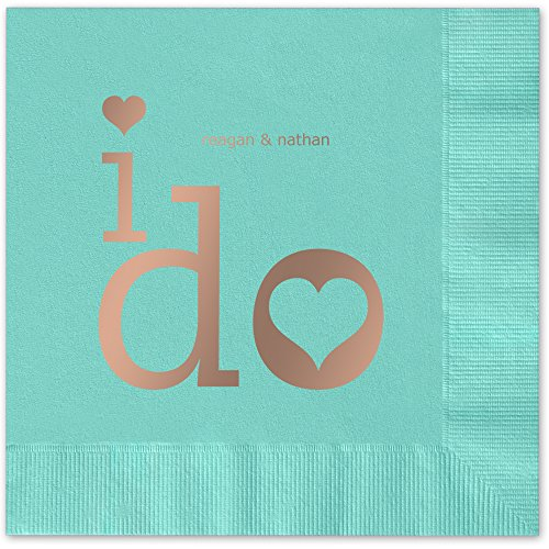 I Do Personalized Beverage Cocktail Napkins - Canopy Street - 100 Custom Printed Aqua Paper Napkins with choice of foil stamp (5859B)