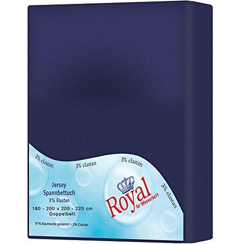Mako-Baumwoll-Spannbettlaken-Bettlaken-3-Gren-und-viele-Farben-perfekt-fr-Boxspringbett-Wasserbett-180-x-200-200-x-220-cm-Baumwolle-Elastan-Jersey-Stretch-aqua-textil-0010857-Royal-dunkel-blau