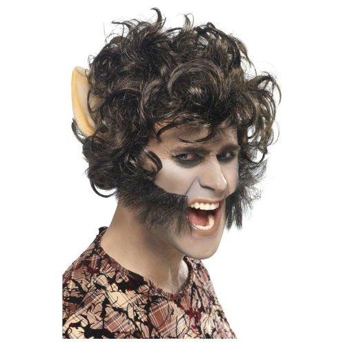 Smiffy's Men's Werewolf Wig with Large Ears and Sideburns In Display Box, Brown, One Size