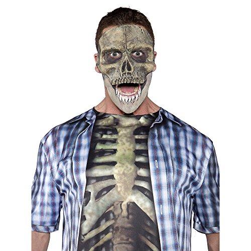 Underwraps Men's Skull Mask, Grey, One Size - 1