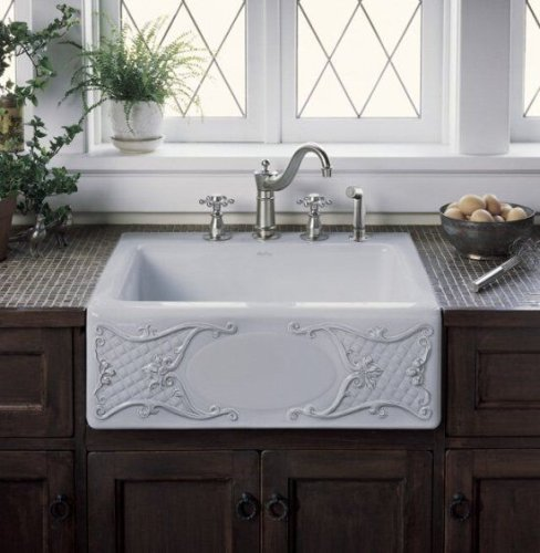 KOHLER Tidings Design On Alcott Undercounter Sink with Five-Hole Drilling, Biscuit #K-1-14572-T1-96