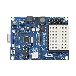 Propeller Board Of Education Microcontroller Board With White Earbud Headphones from Parallax