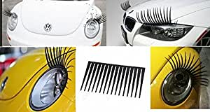 Exclusive Hot Diva Car Lashes Eyelashes Decal Sticker Vinyl For Cars, Curly/Straight Fits All Makes/Models