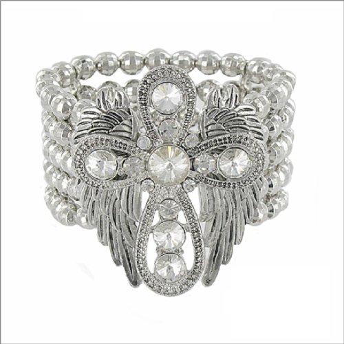 JOA Cross W Wings & Bead Stretch Bracelet #038109