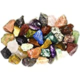 """2 Pounds (BEST VALUE) Bulk Rough INDIA Stone Mix - Over 25 Stone Types - Large 1"""" Natural Raw Stones & Fountain Rocks for Cabbing, Tumbling, Lapidary & Polishing and Reiki Healing"""