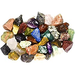"2 Pounds (BEST VALUE) Bulk Rough INDIA Stone Mix - Over 25 Stone Types - Large 1"" Natural Raw Stones & Fountain Rocks for Cabbing, Tumbling, Lapidary & Polishing and Reiki Healing"