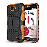 CaseMachinee Flip Kick Stand Hard Dual Armor Hybrid Bumper Back Case Cover For LG L90 D410 Dual Sim - Orange