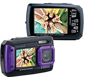 Wudoli WUD-WC01P Dual Full-Color LCD Displays Underwater Shockproof Digital Camera & Video Camera, Purple