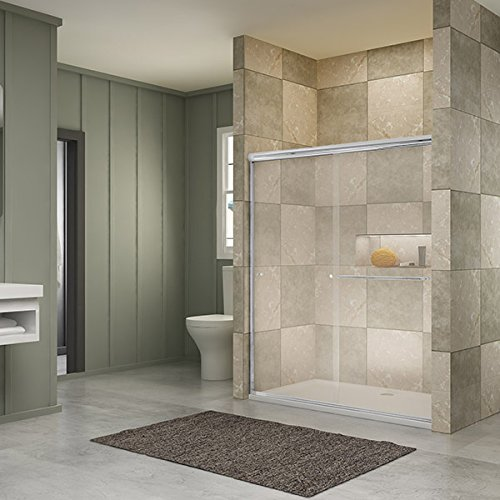 "SUNNY SHOWER B020, Frameless Bypass Sliding Shower Doors, 56"" - 60"" x 72"", 1/4"" Clear Glass, Chrome Finish"