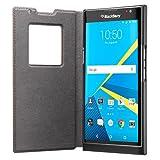 BlackBerry Leather Smart Flip Case for BlackBerry PRIV - Retail Packaging - Tan