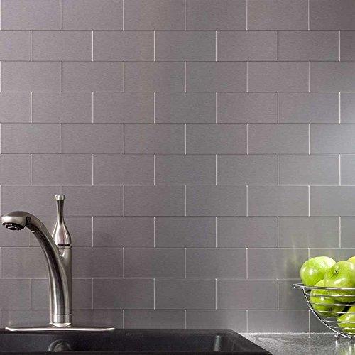 pieces peel and stick tile kitchen backsplash metal wall tiles new