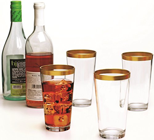 Circleware Gold Rimmed Clear Glass Drinking Glasses Set, 17 Ounce, Set of 4, Limited