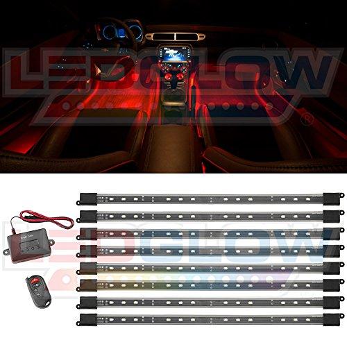 8Pc. Red Expandable Smd Led Interior Lighting Kit