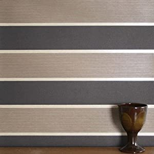 Earth stripe striped wallpaper with gloss detail in dark for Striped kitchen wallpaper