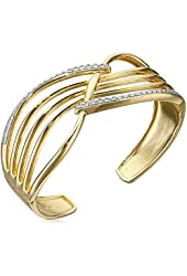 18k Yellow Gold Over Sterling Silver Diamond Hinged Cuff Bracelet (1/4cttw, I-J Color, I2-I3 Clarity)
