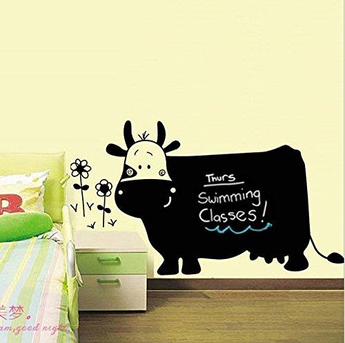vinilo-adhesivo-de-pared-diseno-de-pizarra-negra-con-forma-de-vaca-extraible