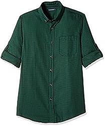 Ruggers Men's Casual Shirt (8907242829838_267796749_Large_Dark Green)