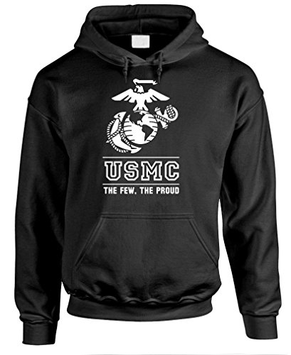 THE FEW THE PROUD THE MARINES usmc marine - Mens Pullover Hoodie, S, Black