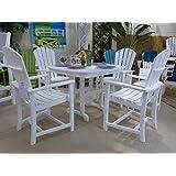 CASA BRUNO Essgruppe Palm Coast (4 Stühle mit Armlehne + Tisch 94x94 cm) aus recyceltem Polywood® HDPE Kunststoff, weiss - kompromisslos wetterfest