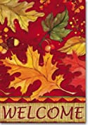 Tossed Leaves Fall Garden Flag Autumn Acorns