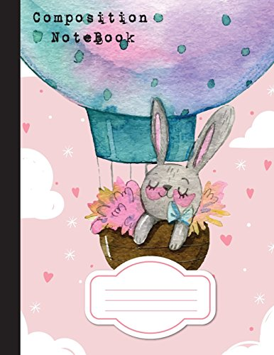 Composition Notebook College Wide Ruled Mini Bunny with Hot Air Balloon watercolor,School Notebook, 110 Pages, 8.5 x 11 [Leaves, Banana] (Tapa Blanda)