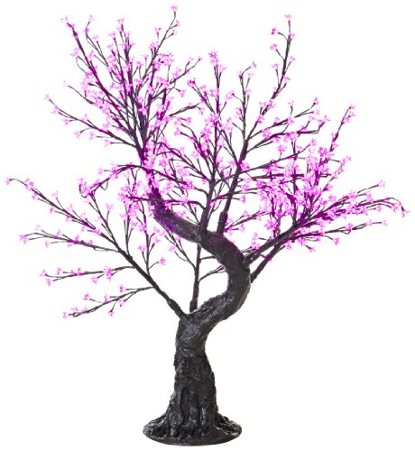 Arclite Nbl-B145-7 Bonsai Cherry Blossom Tree With Leaves, 5' Height, With Black Trunk, Pink Crystals And Pink Lights