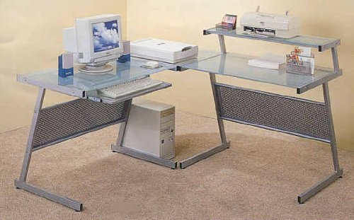 Buy Low Price Comfortable Modern Computer Desk Workstation, Corner Unit & Desk Unit w/Frosted Glass Top (B001BKKBYS)