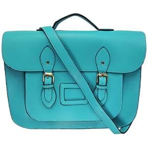 UKFS millésime extra-large 15'' sac cartable en similicuir / Unisexe sac portés épaule (Bleu)