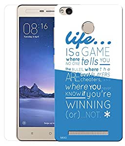 Indiashopers Combo of Life is a Game HD UV Printed Mobile Back Cover and Tempered Glass For Xiaomi Redmi 3s Prime