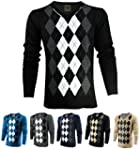 Enimay Mens Argyle V-Neck Golf Long S...