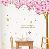 Hunnt® Large Pink Sakura Flower Cherry Blossom Tree Wall Sticker Decals PVC Removable Wall Decal for Nursery Girls and Boys Childrens Bedroom