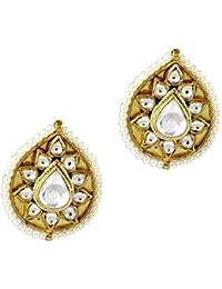 Gehnamart Yellow Gold Plated Polki Designer Stud Earring