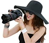 New Large Brimmed Garden Beach Big Summer Sun Hat for Womens (Black)