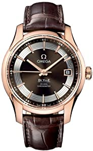 Omega Deville Hour Vision Brown Dial 18kt Rose Gold Brown Leather Mens Watch 431.63.41.21.13.001
