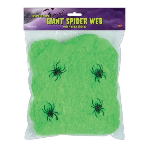 FR Giant Spider Web (slime green; 4 - 2 spiders included) Party Accessory  (1 count) (2.1Ozs/Pkg)