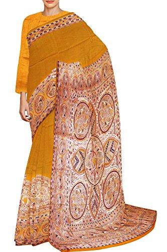 Unnati Silks Women Pure Handloom Bengal Soft Silk Printed Yellow'Cream Saree
