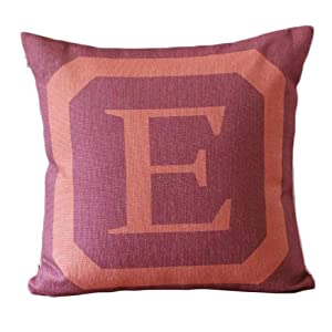 Amazon.com - Big Letter E With Red Background Simple Design Decorative Pillow Covers Linen Throw ...