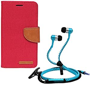 Aart Fancy Wallet Dairy Jeans Flip Case Cover for Micromax-Q372 (Red) + Zipper Earphones/Hands free With Mic *Stylish Design* for all Mobiles- computers & laptops By Aart Store.