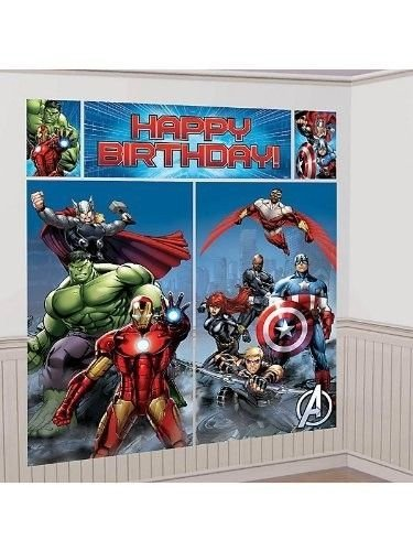New Art AVENGERS SCENE SETTER Happy Birthday Party Wall Decoration Decor HULK IRON MAN - 1