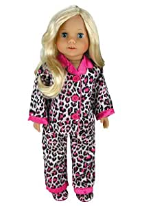 Doll Clothing for 18 Inch Doll Pajama Set & Doll Slippers, 3 Pc. Set Fits 18 Inch American Girl Dolls and More! Stylish Matching Slippers and Doll PJ's in Satin Animal Print, My Doll's Life