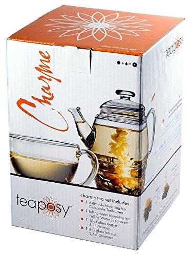 Edles-exklusives-Teaposy-Teeblumen-Geschenkset-Charme-mit-Teekrug-500ml-groer-250ml-Tasse-und-Teeblumen-fr-eine-Person-Auch-ein-tolles-Geschenk-zu-Weihnachten-oder-zum-Muttertag-im-schnen-farbigen-Ges