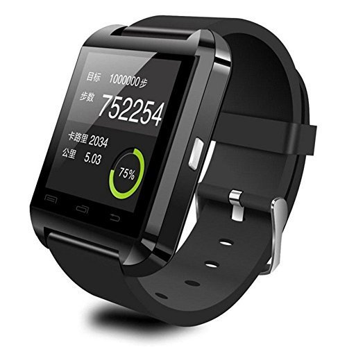 JideTech Bluetooth Smart Watch U8 Phone with Touch Screen for IOS Iphone Android Samsung (Black)