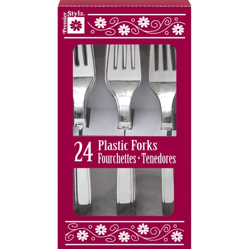 Silver Plastic Forks, 24Ct